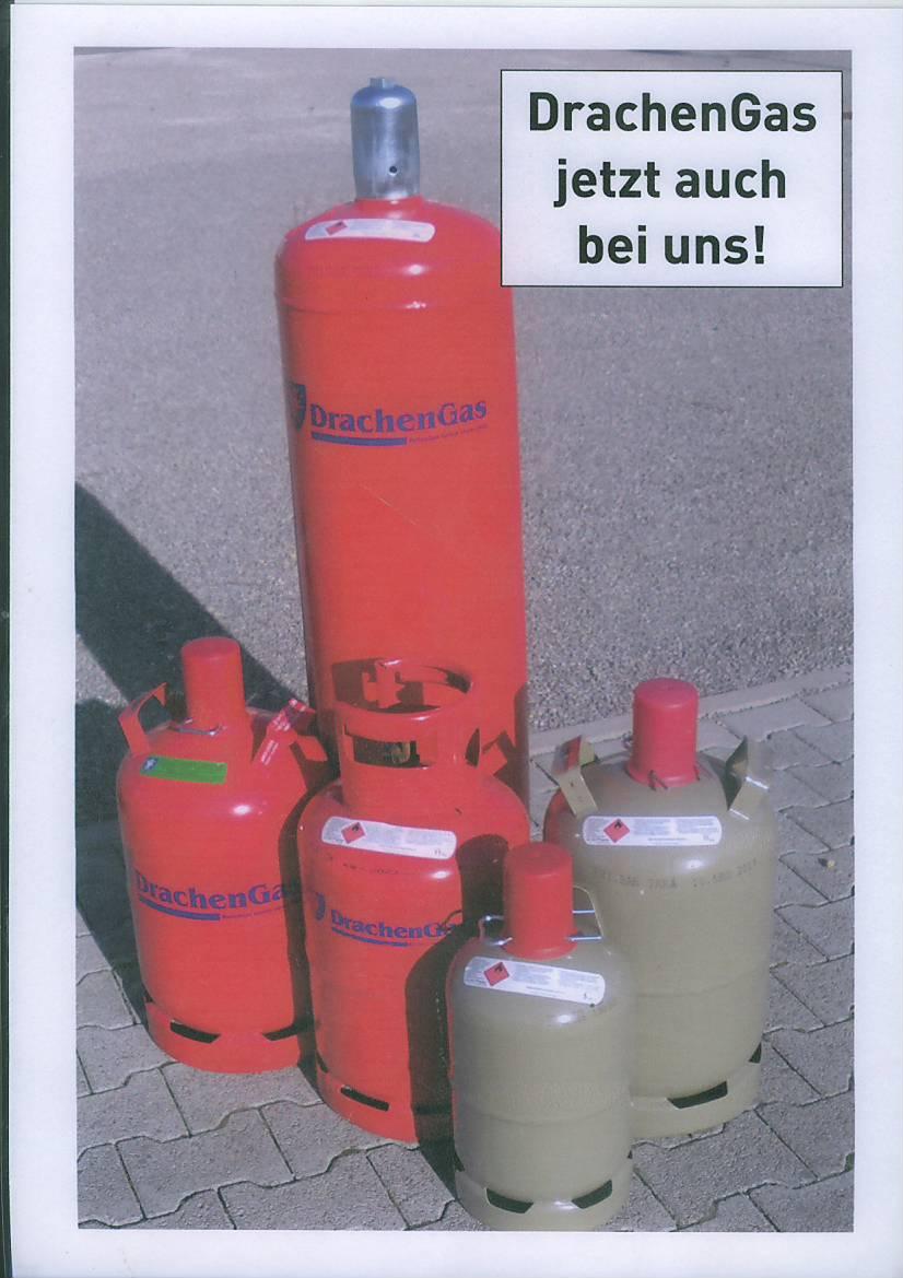 Drachen Gas in Flaschen
